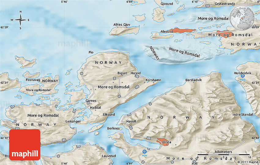 Shaded Relief Map of lesund