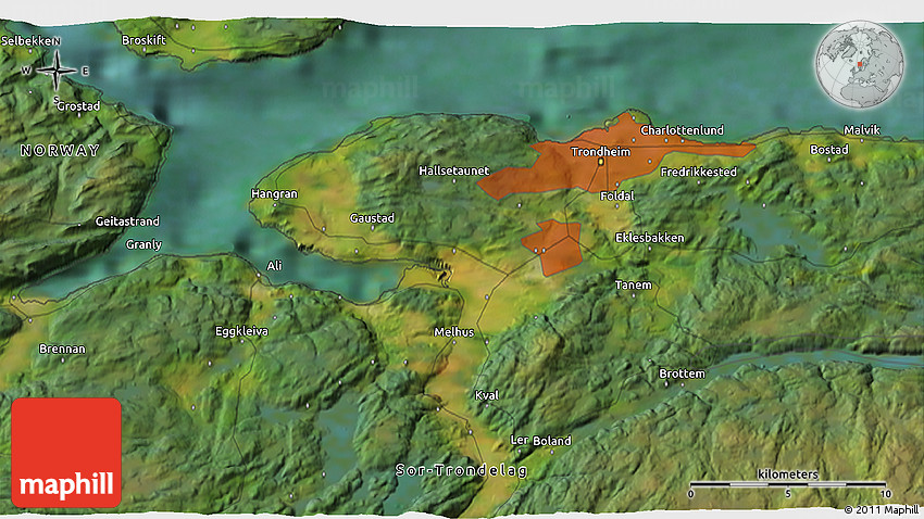 Satellite 3D Map of Trondheim