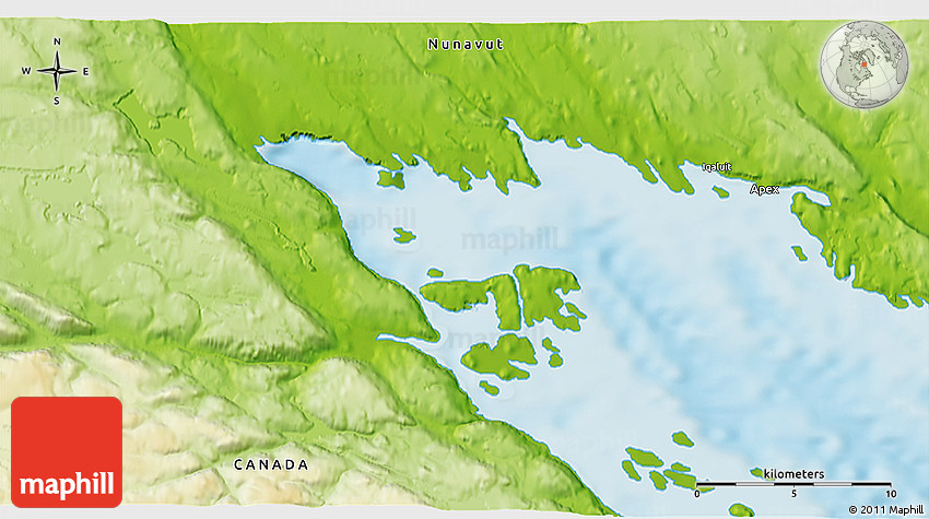 Iqaluit Canada Map.Physical 3d Map Of Iqaluit
