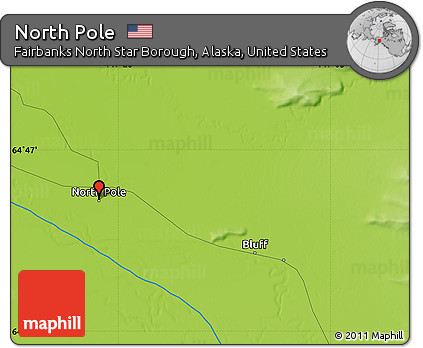 Free Physical Map of North Pole
