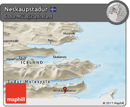 Free Shaded Relief Panoramic Map of Neskaupstaður on