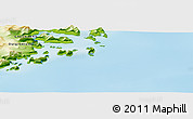 """Physical Panoramic Map of the area around 65°57'19""""N,35°37'30""""W"""