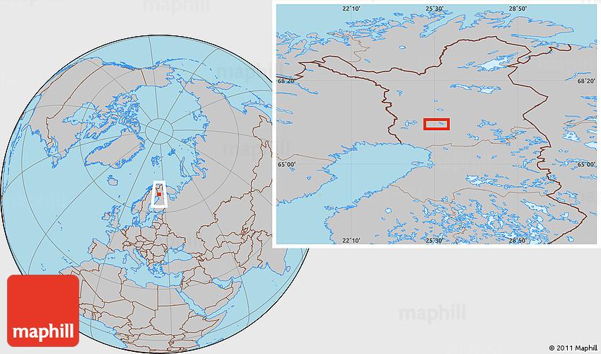 Gray Location Map of Rovaniemi