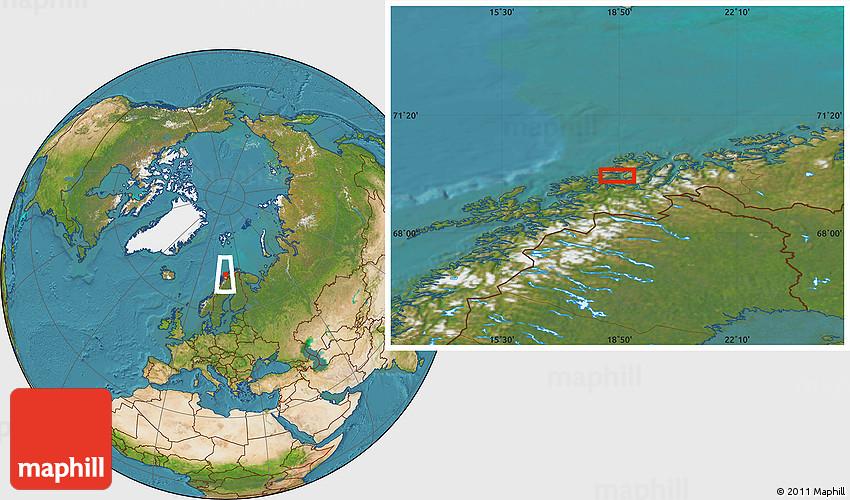 Satellite Location Map Of Tromsø - Norway map tromso