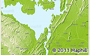 """Physical Map of the area around 6°28'13""""N,0°4'30""""E"""