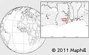 """Blank Location Map of the area around 6°28'13""""N,0°46'30""""W"""