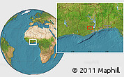 """Satellite Location Map of the area around 6°28'13""""N,0°46'30""""W"""
