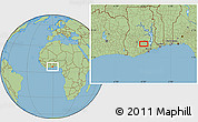 """Savanna Style Location Map of the area around 6°28'13""""N,0°46'30""""W"""