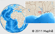 """Shaded Relief Location Map of the area around 6°28'13""""N,0°46'30""""W"""