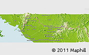 """Physical Panoramic Map of the area around 6°28'13""""N,100°22'30""""E"""