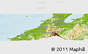 """Physical Panoramic Map of the area around 6°28'13""""N,116°31'30""""E"""