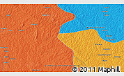 """Political 3D Map of the area around 6°28'13""""N,18°46'29""""E"""