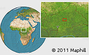 """Satellite Location Map of the area around 6°28'13""""N,20°28'30""""E"""