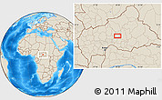 Shaded Relief Location Map of Babigoua