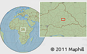 """Savanna Style Location Map of the area around 6°28'13""""N,23°1'29""""E, hill shading"""