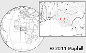 """Blank Location Map of the area around 6°28'13""""N,6°1'30""""E"""