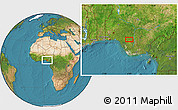 """Satellite Location Map of the area around 6°28'13""""N,6°1'30""""E"""