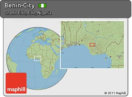 Free Savanna Style Location Map of BeninCity