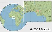 "Savanna Style Location Map of the area around 6°28'13""N,6°1'30""E"