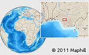 """Shaded Relief Location Map of the area around 6°28'13""""N,6°1'30""""E"""
