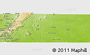 """Physical Panoramic Map of the area around 6°59'36""""N,0°55'29""""E"""