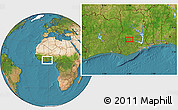 """Satellite Location Map of the area around 6°59'36""""N,1°37'30""""W"""