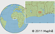 """Savanna Style Location Map of the area around 6°59'36""""N,1°37'30""""W"""