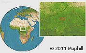 """Satellite Location Map of the area around 6°59'36""""N,20°28'30""""E"""