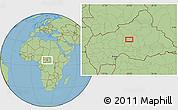 "Savanna Style Location Map of the area around 6°59'36""N,20°28'30""E"