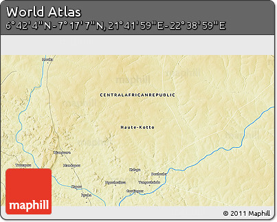 """Physical 3D Map of the Area around 6°59'36""""N,22°10'29""""E"""