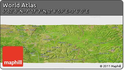 "Satellite Panoramic Map of the Area around 6°59'36""N,2°37'30""E"