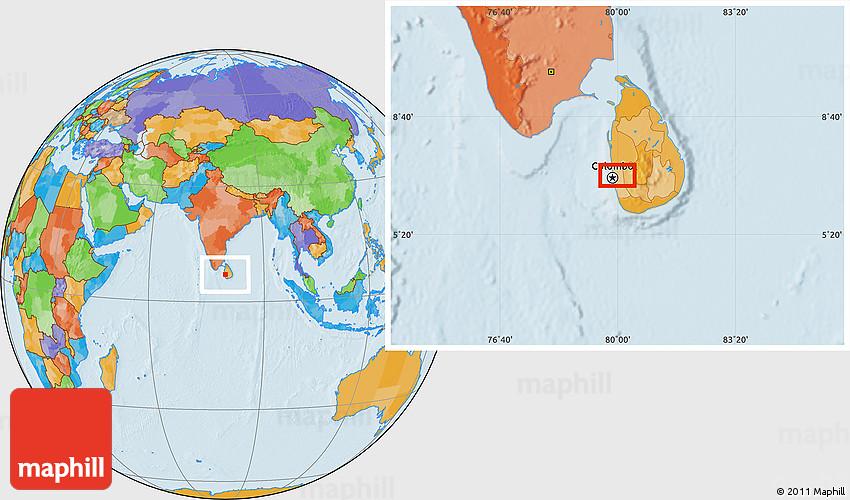 Political Location Map of Sri Jayewardenepura Kotte