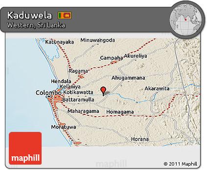 Free Shaded Relief Panoramic Map of Kaduwela