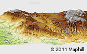 """Physical Panoramic Map of the area around 6°7'16""""S,142°52'30""""E"""