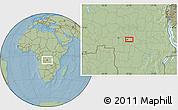 Savanna Style Location Map of Mbuji-Mayi, hill shading