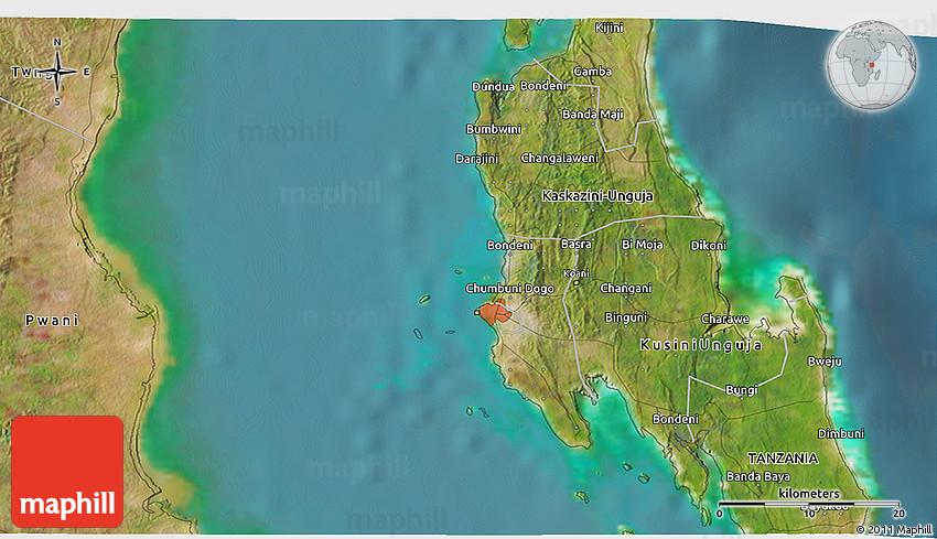 Satellite 3D Map of Zanzibar