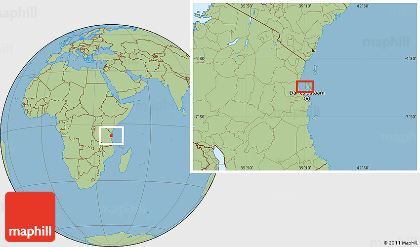 Savanna Style Location Map of Zanzibar