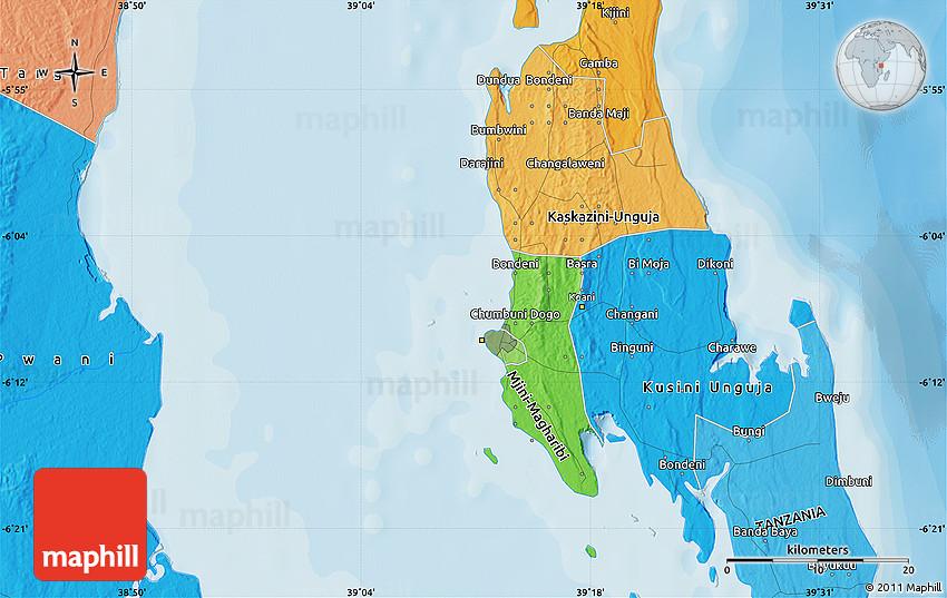 Political Map of Zanzibar on