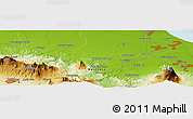 """Physical Panoramic Map of the area around 6°38'39""""S,108°1'30""""E"""