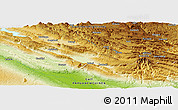 """Physical Panoramic Map of the area around 6°38'39""""S,143°43'29""""E"""