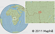 """Savanna Style Location Map of the area around 6°38'39""""S,22°10'29""""E, hill shading"""