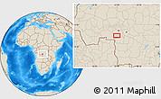 """Shaded Relief Location Map of the area around 6°38'39""""S,22°10'29""""E"""