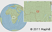 """Savanna Style Location Map of the area around 6°38'39""""S,23°1'29""""E, hill shading"""