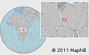 Gray Location Map of Karema, hill shading