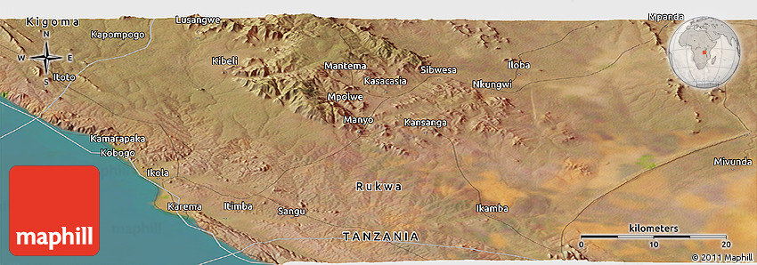 Satellite Panoramic Map of Mantema
