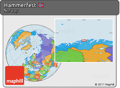 Free Political Location Map of Hammerfest