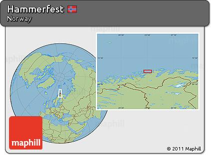 Free Savanna Style Location Map of Hammerfest