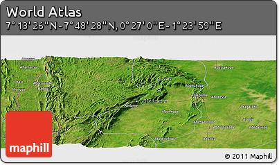 "Satellite Panoramic Map of the Area around 7°30'57""N,0°55'29""E"