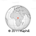 """Outline Map of the Area around 7° 30' 57"""" N, 23° 1' 29"""" E, rectangular outline"""