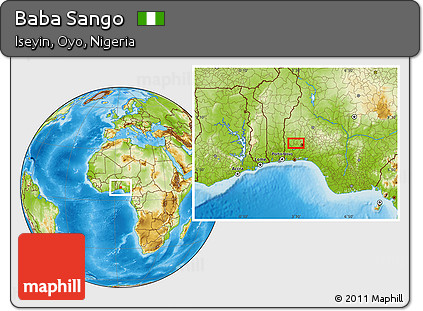 Free Physical Location Map of Baba Sango on